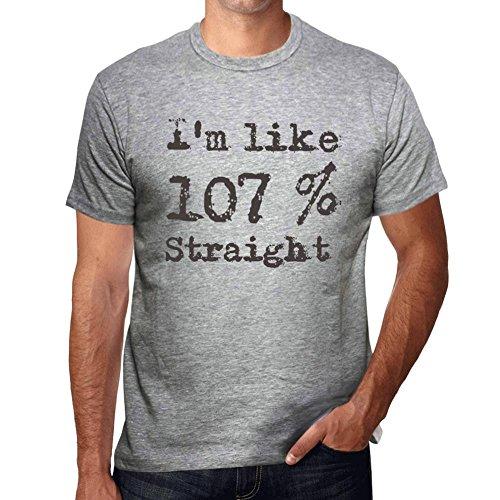 I'm Like 100% Straight, ich bin wie 100% tshirt, lustig und stilvoll tshirt herren, slogan tshirt herren, geschenk tshirt Grau