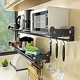 WXP Kitchen furniture - Wandmontierter schwarzer Mikrowellen-Ofen-Rack-Lack-Katzenmuster 304 Edelstahl-Regal -Küchenschränke und Besteckschränke (größe : 60X20X14CM)