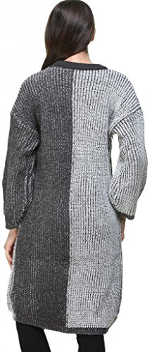 Vogueearth Femmes Longue Manche Knit Crew Neck Loose Pullover Tunic Sweater Chandail Tricots Robe Gris-Noir
