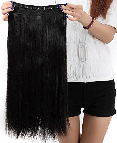 Extension dei capelli, 1 pezzi con 5 clips, 3/4 testa piena, colore: naturale nero, dimensioni: 58 cm-dritto