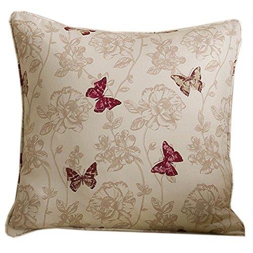 Homescapes Housse de Coussin Papillons Beige et Rouge 43 x 43 cm