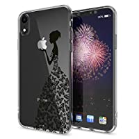 NALIA Motif Case compatible with iPhone XR, Pattern Design Silicone Back Cover Protector Soft Skin, Crystal Gel Shockproof Smart-Phone Bumper, Slim Transparent Protective, Designs:Princess Black