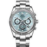 BUREI Cronógrafo para hombre Reloj de cuarzo azul claro Dial analógico Indicación de fecha Cristal de zafiro Lente de plata banda de acero inoxidable