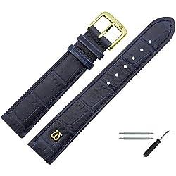 Uhrenarmband 18mm Leder blau matt Prägung, Alligator - inkl. Federstege & Werkzeug - MADE IN GERMANY - Uhrband in Alligatoroptik - Marburger Uhrenarmbänder seit 1945 - matt dunkelblau / gold