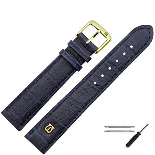 MARBURGER Uhrenarmband 20 mm Leder Blau Kroko - Werkzeug Montage Set 5282050000220