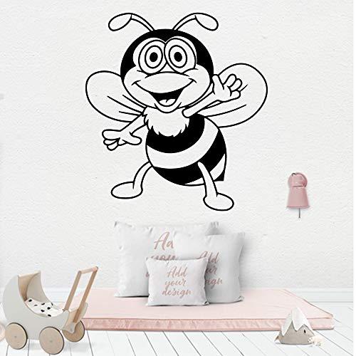 caowenhao Cartoon Stil Biene Wandkunst Applikation Dekoration Mode Aufkleber Wohnzimmer Firma Schule Büro Dekoration Aufkleber Dekoration Schwarz XL 57cm X 62cm -