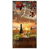 Glasuhr von DekoGlas 30x60cm waagerechte Bilderuhr aus Acryl-Glas mit lautlosem Quarzuhrwerk Dekouhr Glaswanduhr Uhr aus PMMA Wanduhren Küchenuhr Wanddekoration Glasbilder Traube Wein Mehrfarbig