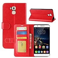 Oukitel U16 Max Case, HualuBro Premium PU Leather Handmade Wallet Flip Phone Protective Case Cover with ID Credit Card Slots for Oukitel U16 Max - Red