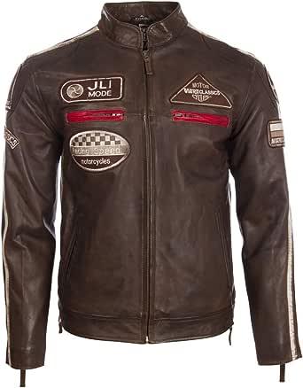 Aviatrix Men's Super-Soft Real Leather Band Collar Patch Fashion Biker Jacket (CXUS)