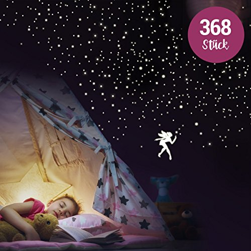 """Wandkings """"Fee mit Punkten und Sternen"""" Wandsticker / 368 Sticker / Fluoreszierend & im Dunkeln leuchtend"""