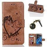 PU Cuir Coque Strass Case Etui Coque étui de portefeuille protection Coque Case Cas Cuir Swag Pour( Samsung Galaxy S7 Edge)+Bouchons de poussière (10SO)
