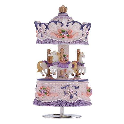 ammoon Laxury Baseball 3-horse Karussell Musik Box Creative Artware/Geschenk Melodie Castle in the Sky pink/lila/blau/gold Schatten für Option rose (Violett) (Box Music Rose)