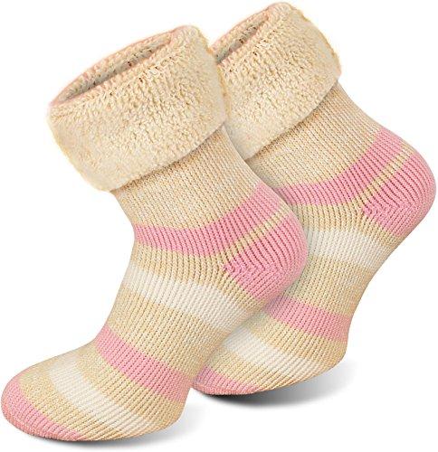 Polar Husky® 6 Paar Super Warme Thermo Socken! Vollplüsch/Perfekt geeignet für Stiefel Farbe Extrem/Hot/Rosa gestreift Größe 43/46