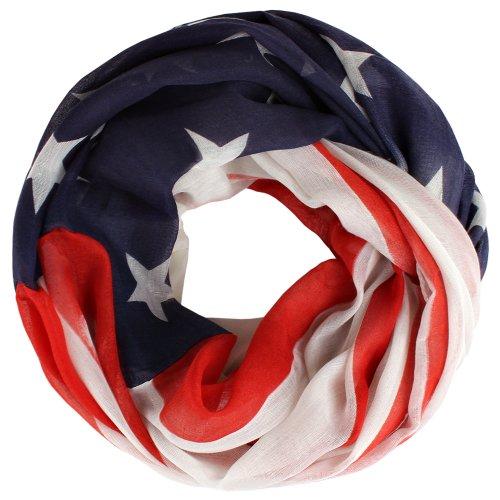 Distressed leichter Sommer Schlauchschal Loop Schal viele Designs USA Amerika Flagge