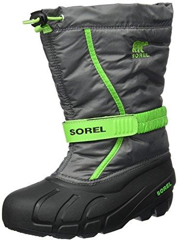 Sorel Jungen Youth Flurry Schneestiefel, Grau (Quarry/Cyber Green), 36 EU Pac Boots