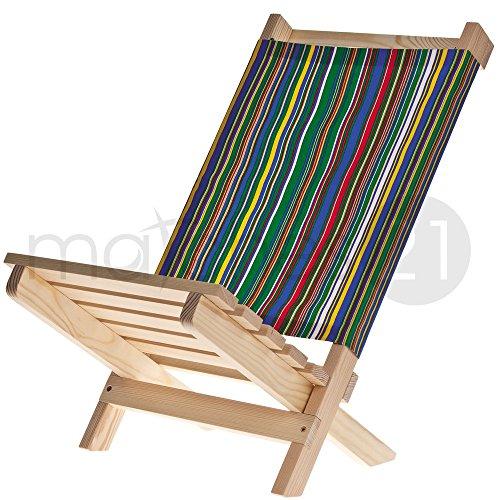 matches21 Klappstuhl Strandstuhl mit Stoff Rückenlehne zusammenklappbar Holz Bausatz für Kinder und Erwachsene