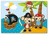 Kigima Einladungskarten für Kinder - Geburtstag und Feiern Piratenmotiv mit Affen 12 Stück