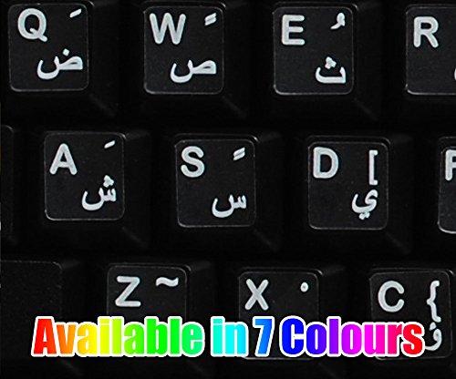 Pegatinas teclado árabe transparente con letras ROJAS - Apto para cualquier ordenador o portátil teclado