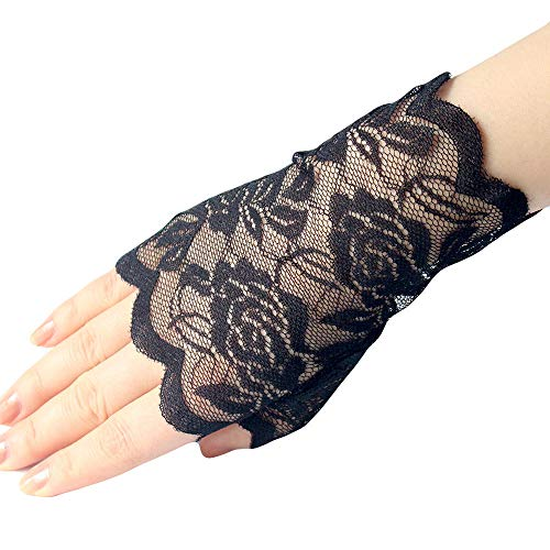 lhxyx Frauen Kurze Fingerlose Spitzenhandschuhe, Erwachsene Mädchen Damen Handschuh, Damen Winterhandschuh, schwarz (Erwachsene Kurze Fingerlose Schwarze Handschuhe)