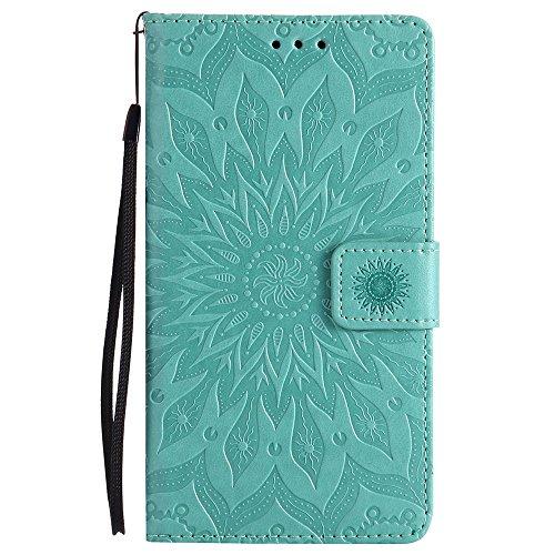 Für LG LS775 Fall, Prägen Sonnenblume Magnetic Pattern Premium Soft PU Leder Brieftasche Stand Case Cover mit Lanyard & Halter & Card Slots ( Color : Green ) Green