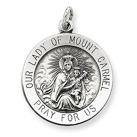 Sterling Silver vieilli Notre Dame du Mont Carmel Pendentif