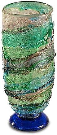 Vaso in vetro di Murano, vaso verde geometrico, vaso alto, vaso in vetro fatto a mano, idea regalo, decorazion