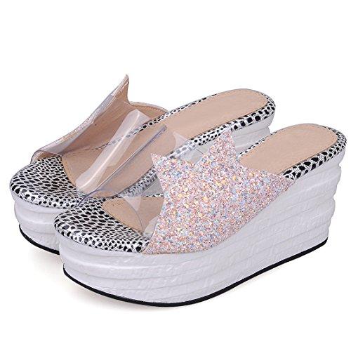 AIYOUMEI Damen Offen Plateau Keilabsatz Pantoletten mit Glitzer und Transparente  Bequem Modern Pailletten Sandalen Schuhe Rosa ...