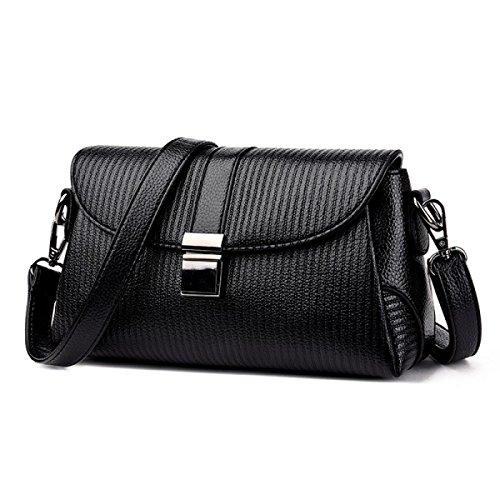 LAIDAYE Damen Kuriertasche Umhängetasche Verschluss Tasche Paket Paket Abendtasche Black