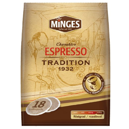 Minges Kaffeepads, Espresso Tradition 1932, gemahlener Röstkaffee, Kaffee, 18 Pads