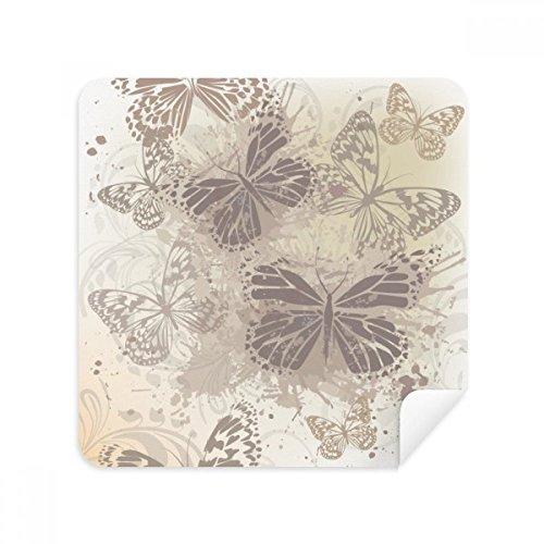Elegante papel pintado vintage gris mariposa gafas de limpieza gamuza limpiador de pantalla del teléfono gamuza tela 2 piezas