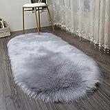 AJON- Weiches Teppich Bett Matte Imitation Wolle Wohnzimmercouch Tischmatte Sofa-Teppich Grau Schwebende Fenster Matte,A,80X160CM
