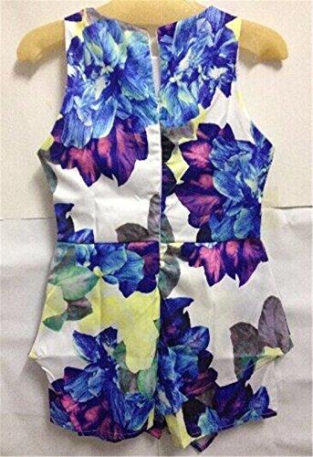 QIYUN.Z Nouvelles Femmes Imprimes Floraux Sans Manches Barboteuses Plage Combinaisons D'ete Irreguliere Photo Color