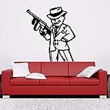 Mafia Gangster Poster Pistola de Dibujos Animados Pegatinas de Pared Para el Cuarto de niños Decoración de la Habitación Para el hogar Tatuajes de Pared de Vinilo Dormitorio Pegatina negro 42X45 cm