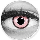 Funnylens Farbige rosa pink Kontaktlinsen Pink Lunatic - weich ohne Stärke 2er Pack + gratis Behälter - 12 Monatslinsen - perfekt zu Halloween Karneval Fasching oder Fasnacht