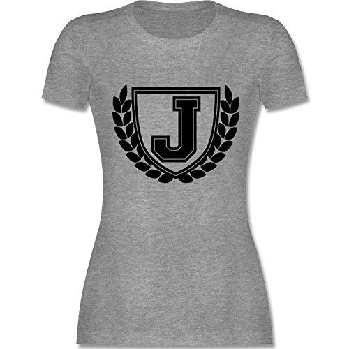 Anfangsbuchstaben - J Collegestyle - tailliertes Premium T-Shirt mit Rundhalsausschnitt für Damen Grau Meliert