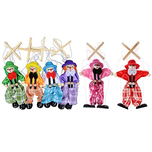 Dabixx Pull String Puppet Clown Wooden Marionette Toy Joint Activity Doll Vintage Child