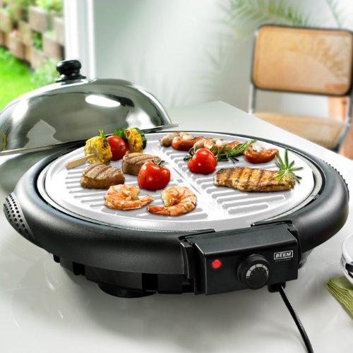 BBQ Stand- und Tischgrill Edelstahlhaube Windschutz Alu Keramik Grillrost 280°C 1600W BEEM
