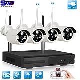 SW 4CH 720P NVR Caméras WiFi Système de Caméra de Surveillance 4 wide angle sans fil Bullet de wifi caméra Etanche 1.0 Megapixels Haute Résolution