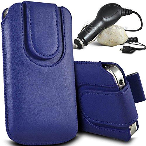Brun/Brown - ZTE Speed Housse et étui de protection en cuir PU de qualité supérieure à cordon avec fermeture par bouton magnétique et stylet tactile pour par Gadget Giant® Bleu/Blue & Car Charger