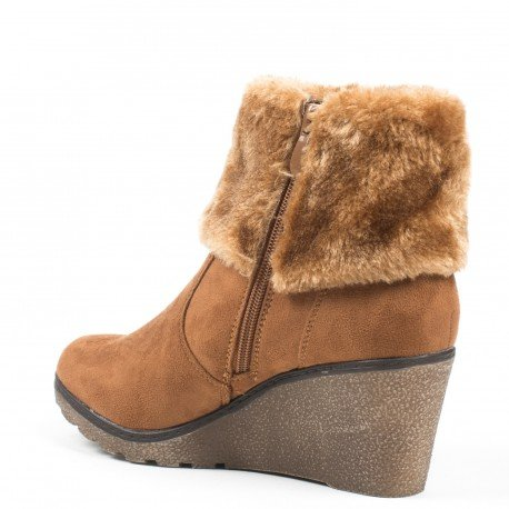 Ideal Shoes - Bottines compensées effet daim avec fourrure Meva Camel