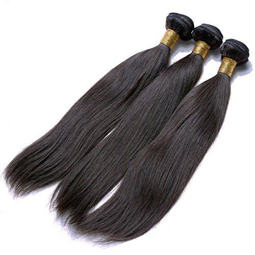 Extension de cheveux humains 100% Remy brésiliens soyeux Lot de 3 paquets de 40,6 cm 40,6 cm 40,6 cm