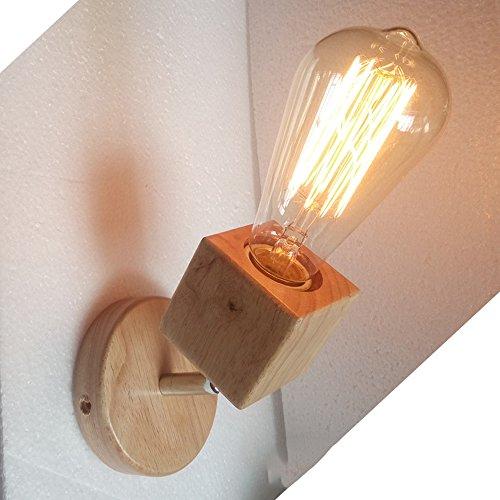 Éclairage d'intérieur, lampe de mur en bois massif Creative salon minimaliste moderne allée balcon lampe led lampe de chevet chambre en bois Lampes de style japonais Wall washer, applique, projecteur, spot mural (10 * 15) cm