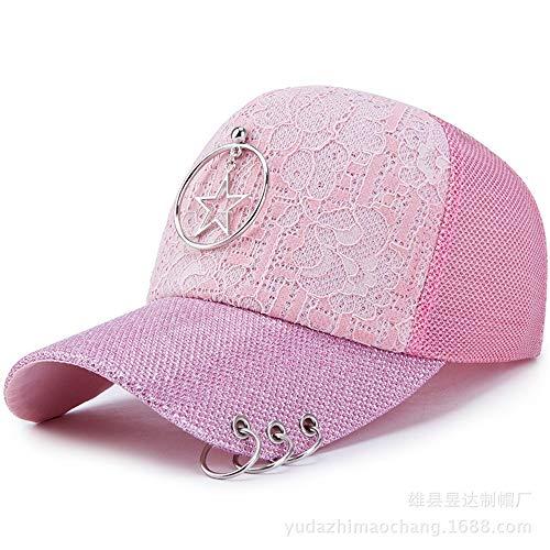 YYXXX Kappen Street Baseball Cap Ladies Persönlichkeit vielseitige Cap Pailletten, rosa Fünf-Sterne, verstellbar -