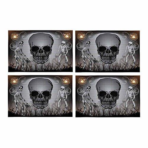 InterestPrint Halloween Skull Sketch Muster Küche Tisch Mats Platzsets Set von 4, Tischset für Esstisch Restaurant Home Decor 30,5x 45,7cm
