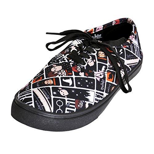 NJ Screenprints Harry Potter Damen Sneaker Schuhe Chibi Style Schwarz Weiß - 40 (Schnürsenkel Express)