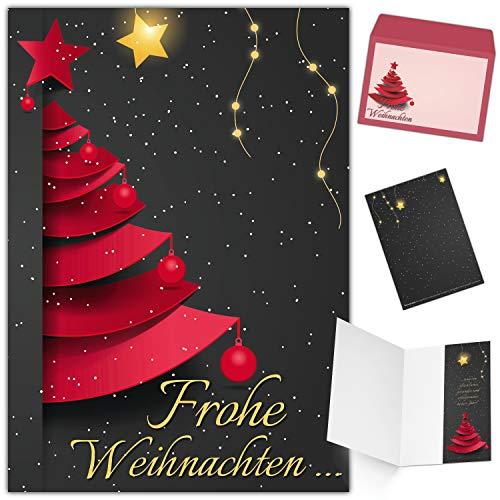 Weihnachtskarten mit Umschlag (15er Set) WEIHNACHTSBAUM - edle Klappkarten - ideal privat und geschäftlich - Frohe Weihnachten Karten von BREITENWERK