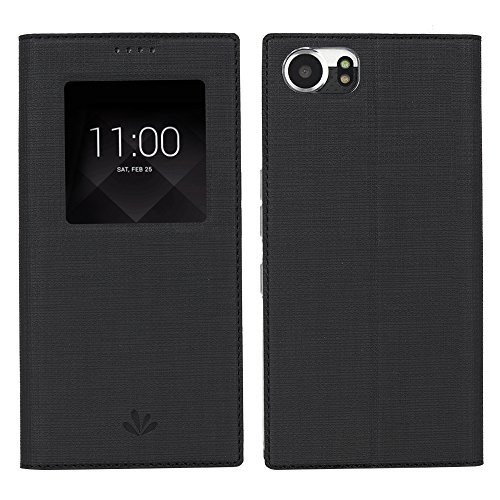 BlackBerry Keyone Hülle, Feitenn PU Leder Tasche Auto Sleep/Wake Function Card Slots Stand Cover Magnetisch Schutzhülle TPU Back Cover Wallet Case für BlackBerry Keyone/Mercury/DTEK70 4.5 Zoll (Schwarz)