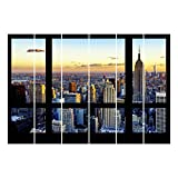 Bilderwelten Schiebegardinen Set - Fensterausblick - Sonnenaufgang New York - 6 Flächenvorhänge, Aufhängungssystem: Ohne Aufhängung, Größe HxB: 250 x 360cm (6 Flächenvorhänge á 250 x 60cm)