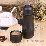 FREESOO Mini macchina portatile da caffè a pressione Black, Mini caffè Maker Machine per viaggio casa o campeggio