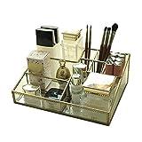 Envejecido cristal y latón metal Joyería y cosméticos almacenamiento organizador de maquillaje Set 6con 1cajón y espacioso trapezoidal pantalla